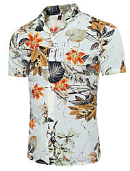 Men's Casual/Daily Beach Simple Summer Shirt,Floral Classic Collar Short Sleeves Cotton Polyester Thin