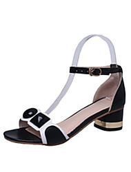 Damen-High Heels-Büro Kleid-PU-Blockabsatz-Komfort-Weiß Schwarz Rosa