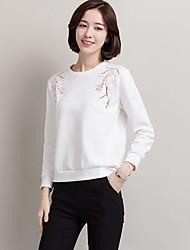 Vraie fusil à manches longues 2017 nouvelles femmes d'automne coton brodé coréen lisse, t-shirt blanc décontracté