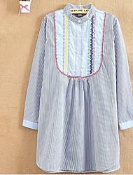 Women's Casual/Daily Cute Loose Dress,Solid Shirt Collar Above Knee Long Sleeve Cotton All Seasons Low Rise Micro-elastic Medium