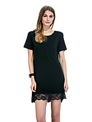 Women's Party Club Simple Sheath Dress,Solid Round Neck Above Knee Short Sleeve Polyester All Seasons Low Rise Micro-elastic