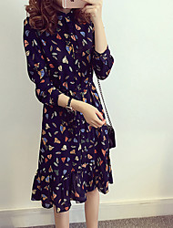 2016 spring new large size long-sleeved floral chiffon dress female waist flounced skirt bottoming