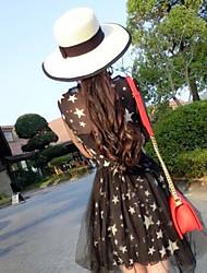 Women's Fashion Straw Hat Sun Hat Wide Brim/Bucket Hat Cute Casual Bowknot Beach Summer White/Khaki