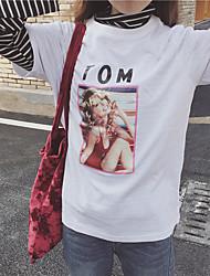 знак # корейской шик моды печати буквы рыхлой с короткими рукавами футболки
