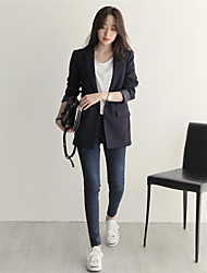 Women's Casual/Daily Work Simple Spring Fall Blazer,Solid Shirt Collar Long Sleeve Long Others