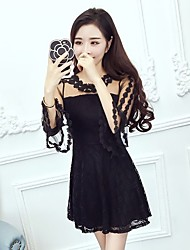 Tide lace dress was thin long-sleeved lace trumpet long section of hollow skirt women