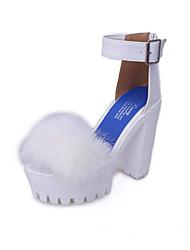 Women's Heels Spring Summer Comfort Fur PU Outdoor Dress Chunky Heel Block Heel Zipper White Black Walking