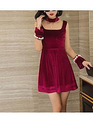 2017 ранняя весна новая мода сексуальный темперамент чистая пряжа сплайсинг с длинными рукавами бисером бархат платье юбка женского