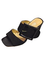 Women's Sandals Club Shoes Fleece PU Spring Summer Casual Dress Club Shoes Chunky Heel Black Khaki 3in-3 3/4in