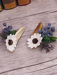 Alliage Lin Tissu Casque-Mariage Occasion spéciale Décontracté Fleurs 2 Pièces