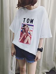 Été nouveau rétro imprimé à manches courtes t-shirt féminin lettre loose big yards coton 6535