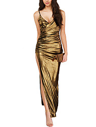 Women's Asymmetrical|Backless Party Club Sexy Simple Sheath DressSolid Backless Ruched Split Strap Maxi Sleeveless Summer FallMid