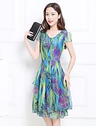 Sinal de mangas curtas v-pescoço vestido 2017 verão novo tamanho grande fino magro um vestido vestido impresso