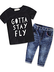 Boy Leisure Time Suit Kids Letter Printing  Short Sleeve Cottom T-shirt Jeans Pants Baby Clothing Boys Set