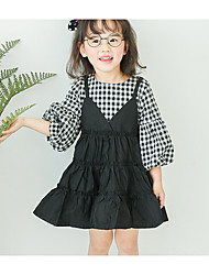 Girl's Casual/Daily Solid Dress,Cotton Spring ½ Length Sleeve