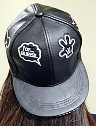 Women 's Leather Palm Print Hip Hip Flat-brimmed Baseball Cap