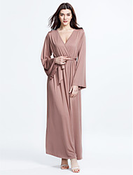Women's Flare Sleeve Plus Size / Casual/Daily Simple / Street chic Ruched Bow Sheath DressSolid V Neck Maxi Long Sleeve