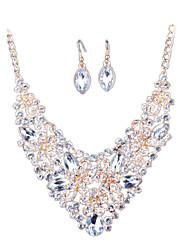 European Fashion Diamond Pendant Necklace Earrings Bride Set