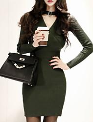 novos coreano senhoras temperamento v-pescoço de estilo halter vestido de malha assentamento bolsos fechamento Mulheres Slim saia do