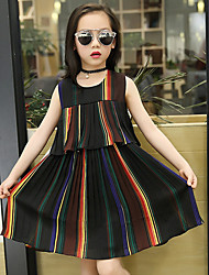 Girl's Vintage Going out Casual/Daily Holiday Stripe Patchwork Dress Cotton Summer Sleeveless Rainbow