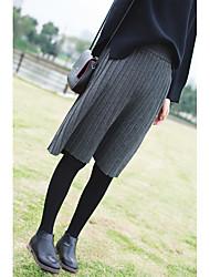 Feminino Cintura Alta Casual Longuete Saias,Evasê Cor Única Com Molas