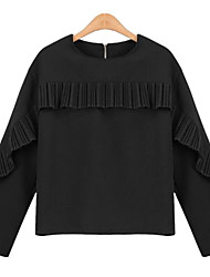 Fashion Wild Round Neck Long Sleeves Self-Cultivation Solid Color Upper Outer Garment Daily Leisure Dating Home Get Together Shirt