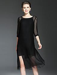 Feminino Vestidinho Preto Túnicas Vestido,Férias Para Noite Casual Simples Moda de Rua Sólido Decote Redondo Médio Manga ¾ Seda Poliéster