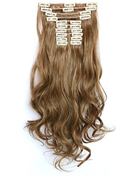 12pcs/Set 150g  Golden Brown Wavy Hair Extension Clip In Synthetic Hair Extensions