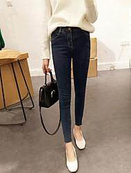 Новые корейские простые дикие базовые модели тримминг промывают стрейч джинсовые штаны футов девять очков штаны