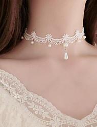 Mujer Gargantillas Perla artificial Forma de Flor Perla Artificial Tela de Encaje Tatuaje Colgante Floral Joyas Para Boda Fiesta Ocasión