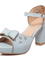 Feminino-Sandálias-Conforto Buraco Shoes-Salto Grosso-Branco Bege Azul-Courino-Ar-Livre Social