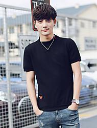 Sommermänner&# 39; s Kurzarm-T-Shirt Rundhals-Shirt mitfühlend solide koreanische Version von Schwarz-Weiß-Kurzarm Sommer Zufluss von