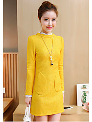 Women's Casual/Daily Tunic Dress,Solid Stand Above Knee Long Sleeve Polyester Spring Summer Mid Rise Micro-elastic Thin