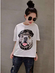 2016 new fashion trend in Europe and America large size women fat mm puppy printing loose short-sleeved T-shirt bottoming