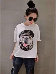 2016 moda nova tendência na Europa e América tamanho grande mulheres gordura mm puppy impressão solta de manga curta t-shirt bottoming