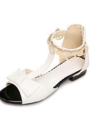 Women's Sandals Summer Fall Comfort Light Soles PU Office & Career Dress Casual Low Heel Chunky Heel Zipper Chain
