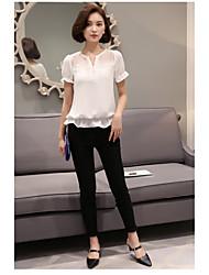 Zeichenhorn Kurzarm Chiffonhemd Frauen&# 39; s 2016 Sommer auf der neuen V-Ausschnitt Taille war dünne Spitze T-Shirt
