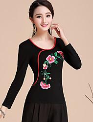 Femme Broderie Tee-shirt,Mosaïque Broderie Vacances Chinoiserie Printemps Manches Longues Col Arrondi Coton Moyen