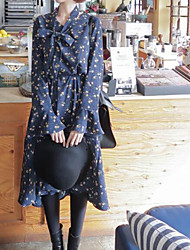 2017 spring new Korean Shopping Korean version of sweet loose waist was thin long-sleeved floral dress