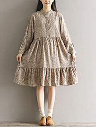 Spring wild retro small collar loose long section was thin floral dress skirt bottoming