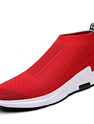 Men's Sneakers Spring Summer Fall Comfort Light Soles Tulle Outdoor Casual Flat Heel Walking Shoes Black Red Grey