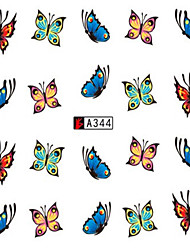 10pcs/set Fashion Butterfly Nail Art Sticker Beautiful Nail Decals Colorful Butterfly Nail Water Transfer Decals A344
