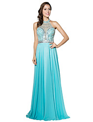 Sheath / Column Halter Floor Length Chiffon Formal Evening Dress with Beading