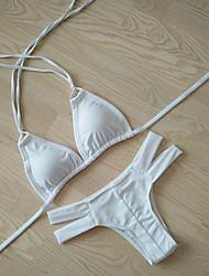 Bikinis Aux femmes Rubans Licou Spandex