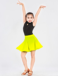 Latin Dance Outfits For Girls Performance Spandex Polyester Pattern/Print Ruffles Splicing 2 Pieces Sleeveless Natural Skirt Leotard