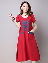 Sign 2017 spring and summer long section retro dress embroidered ethnic style cotton round neck dress