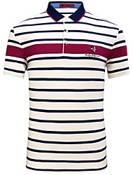Camel Men's Business Casual Summer Polo Striped Stand Short Sleeve T-Shirt Color Blue/Beige