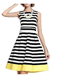 Women's Party Going out Casual/Daily A Line Loose Skater Dress,Striped Round Neck Above Knee Sleeveless Polyester Spring Fall Mid Rise