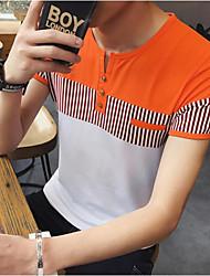 neue Männer&# 39; s Bannfarbe Rundhals gestreift Kurzarm-T-Shirt Café