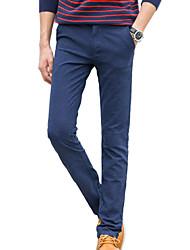 Homme simple Taille Normale non élastique Chino Pantalon,Droite Couleur Pleine